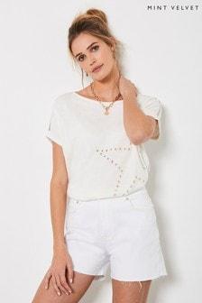 Mint Velvet White Star Motif Knitted Top
