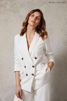 Mint Velvet White Double Breasted Blazer