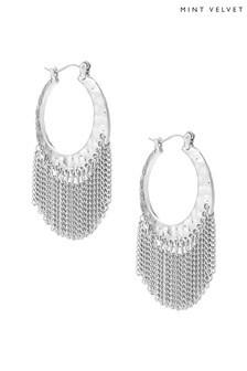 Mint Velvet Silver Tone Chain Hoop Earrings