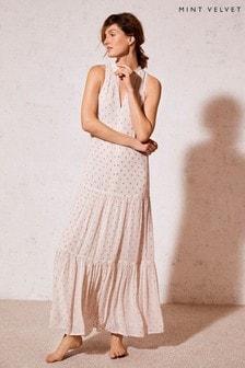 Mint Velvet Pale Pink Polka Dot Maxi Dress