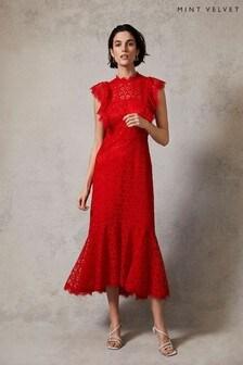 Mint Velvet Red Lace Ruffled Midi Dress