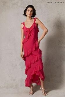 Mint Velvet Bright Pink Ruffled Maxi Dress