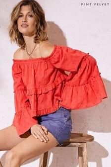 Mint Velvet Red Fluted Sleeve Bardot Top