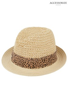 Accessorize Animal Trim Trilby Hat