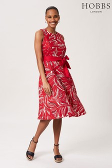 Hobbs Pink Linen Bea Dress
