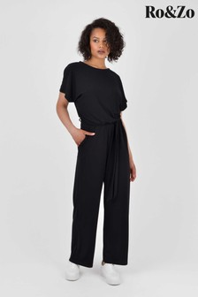 Ro&Zo Black Relaxed Jersey Jumpsuit