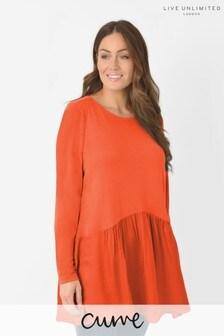 Live Unlimited Curve Orange Jersey Satin Hem Tunic