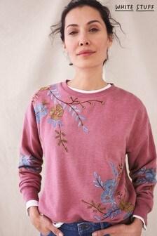 White Stuff Purple Eden Embroidered Sweater
