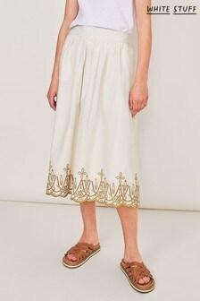 White Stuff Yellow Fern Embroided Skirt