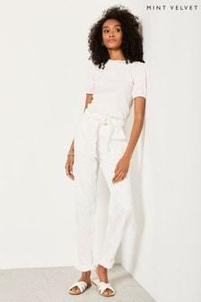 Mint Velvet White Off-White Belted Trousers