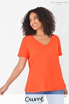 Live Unlimited Curve Bright Orange Cotton Swing T-Shirt