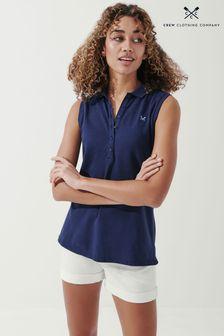 Crew Clothing Company Navy Ocean Sleeveless Polo Shirt