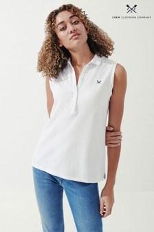 Crew Clothing Company White Sleeveless Polo Shirt