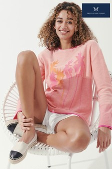 Crew Clothing Company Pink Seaside Palm Jumper