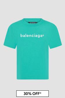 Balenciaga Kids Blue T-Shirt