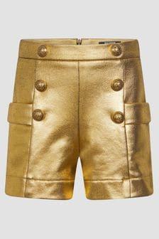 Balmain Girls Gold Shorts