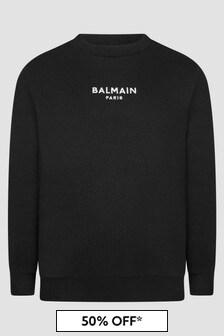 Balmain Boys Black Sweat Top