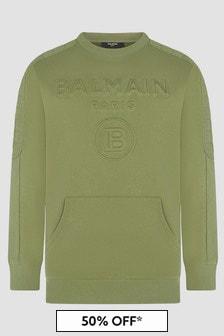 Balmain Boys Green Sweat Top