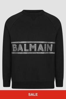Balmain Girls Black Sweat Top