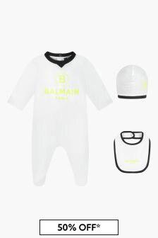 Balmain Baby Boys White Sleepsuit