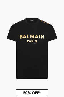 Balmain Girls Black T-Shirt