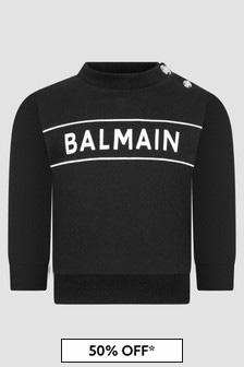 Balmain Baby Boys Black Sweat Top
