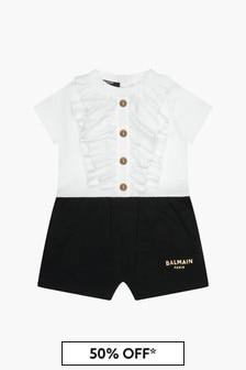 Balmain Baby Girls White Rompersuit