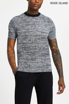 River Island Black Space Dye Poly T-Shirt