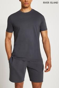 River Island Grey Dark River T-Shirt And Shorts
