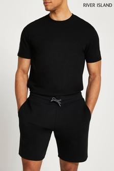 River Island Black River T-Shirt And Shorts