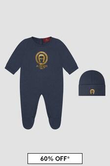 Aigner Baby Boys Navy Sleepsuit Gift Set