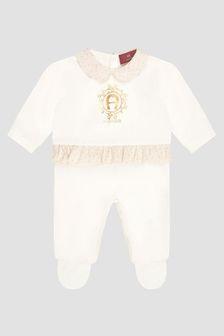 Aigner Baby Girls White Sleepsuit