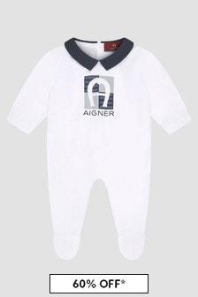 Aigner Baby Boys White Sleepsuit