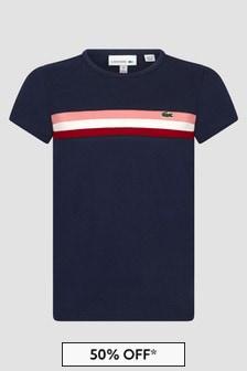 Lacoste Kids Girls Navy T-Shirt