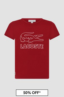 Lacoste Kids Girls Red T-Shirt