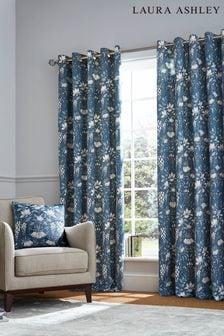 Laura Ashley Seaspray Blue Parterre Eyelet Curtains