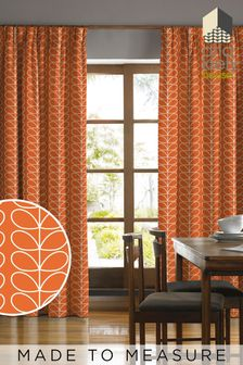 Orla Kiely Orange Linear Stem Made To Measure Curtains