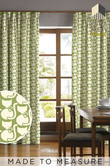 Orla Kiely Green Callie Cat Made To Measure Curtains