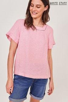 White Stuff Pink Dixie Linen Top