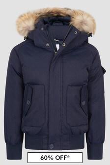 Pyrenex Boys Navy Jami Fur Jacket
