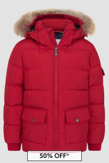 Pyrenex Kids Red Authentic Smooth Fur Jacket