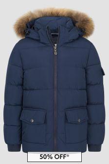 Pyrenex Boys Navy Authentic Smooth Fur Jacket