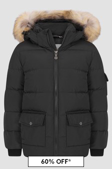 Pyrenex Kids Black Authentic Smooth Fur Jacket