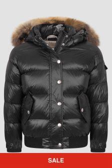 Pyrenex Kids Black Aviator Shiny Fur Jacket