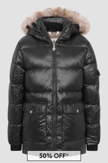Pyrenex Girls Black Authentic Shiny Fur Jacket