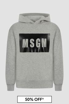 MSGM Boys Grey Hoodie