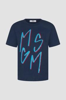 MSGM Boys Navy T-Shirt