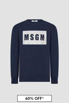 MSGM Boys Navy Sweat Top