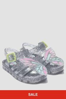 Sophia Webster Girls Silver Butterfly Jelly Sandals