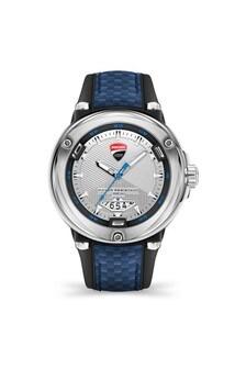 Ducati Corse Black Silicone & Blue Fibre Strap Watch